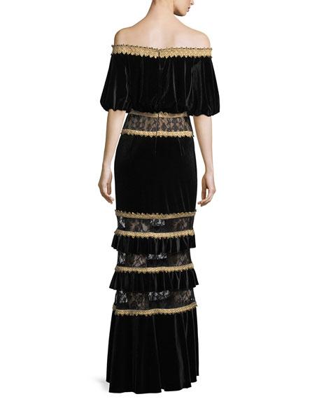 Off-the-Shoulder Velvet Blouson Gown w/ Tiered Skirt