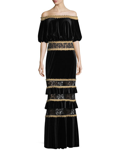 Off-the-Shoulder Velvet Blouson Gown w/ Tiered Skirt