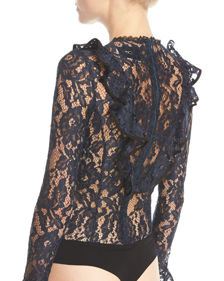 Pollie Long-Sleeve Lace Bodysuit w/ Ruffled Frills