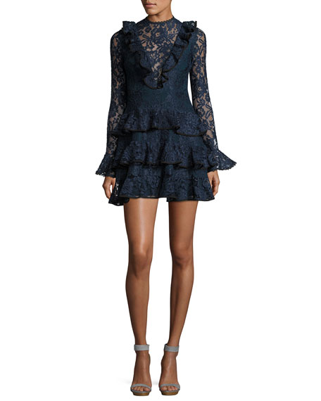 Tracie Long-Sleeve Tiered Ruffled Lace Mini Dress