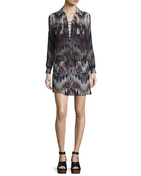 She Too Will Rise Lace-Up Printed Mini Dress