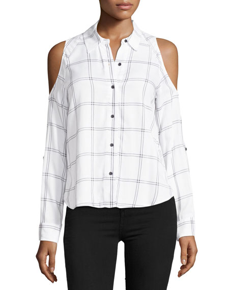 Maisie Plaid Cold-Shoulder Button-Front Top