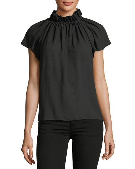 Off-the-Shoulder Short-Sleeve Silk Top