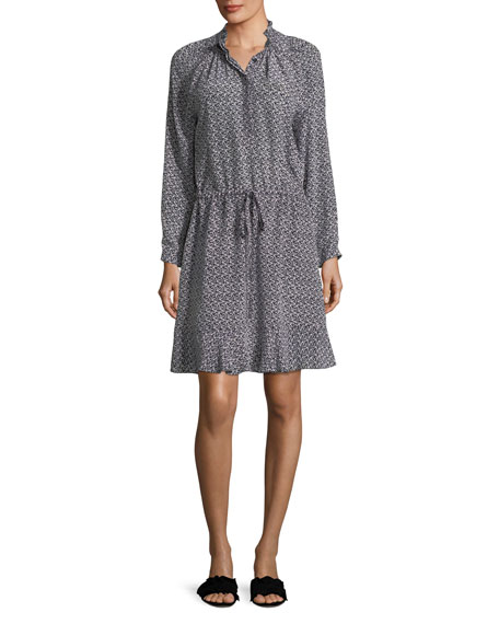 Mock-Neck Long-Sleeve Printed Silk Dress