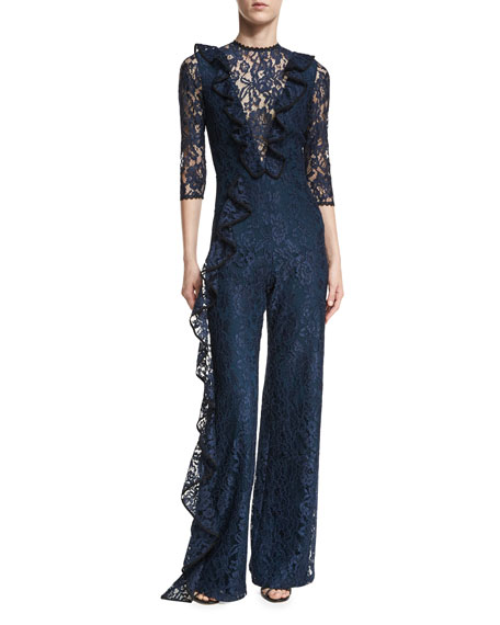Derica Wide-Leg Lace Jumpsuit w/ Ruffled Frills