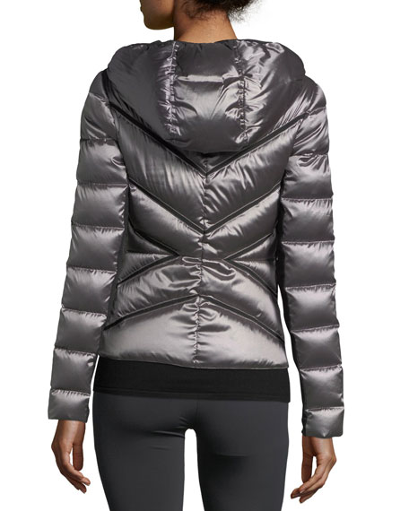 Zip-Front Mesh Inset Hooded Jacket