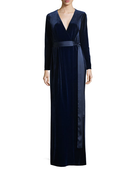 Long-Sleeve Velvet Wrap Evening Gown