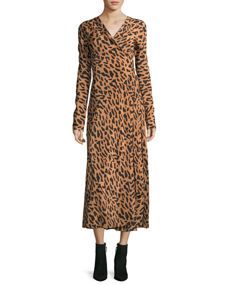 Diane von Furstenberg Long-Sleeve Midi Woven Silk Wrap
