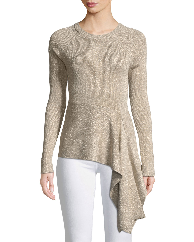 eac4955d1984 3.1 Phillip Lim Metallic Rib-Knit Crewneck Pullover Sweater w  Waist ...