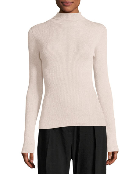 3.1 Phillip Lim Metallic Rib-Knit Pullover Turtleneck Sweater