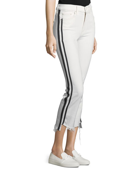 Insider Crop Step-Fray Straight-Legs Jeans W/ Racing Stripes
