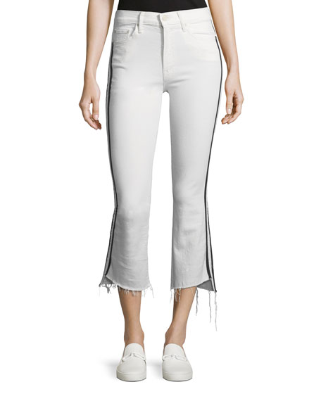 Mother Insider Crop Step-Fray Straight-Legs Jeans W/ Racing