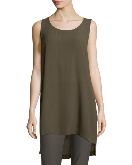 Eileen Fisher Scoop-Neck Silk Georgette Tunic