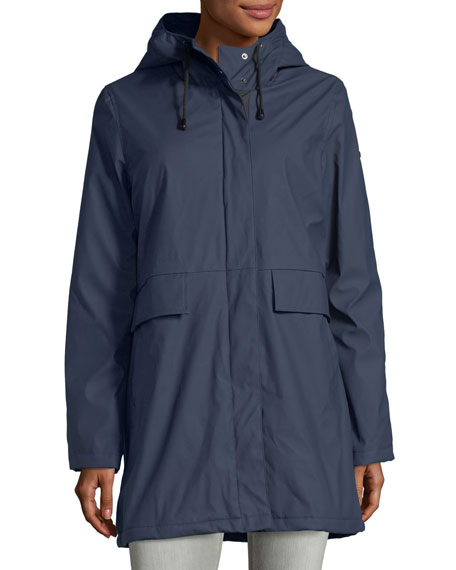 French Connection Hooded Zip-Front Raincoat