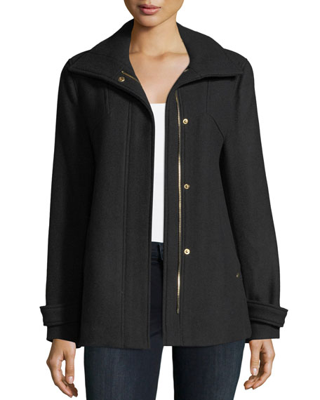 Zip-Front Wool-Blend Coat