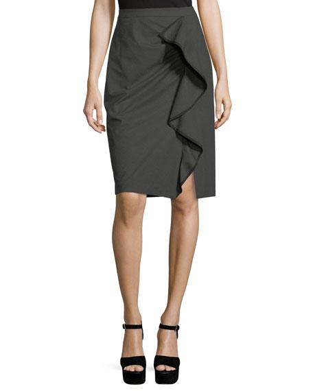 Nanette Lepore Carley Pencil Skirt w/ Ruffled Frill