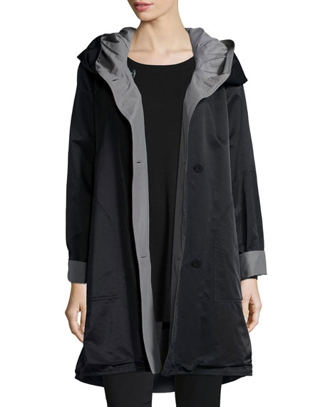 Eileen Fisher Reversible Hooded Rain Coat, Black/Pewter