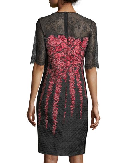 Lace-Yoke Half-Sleeve Cocktail Dress