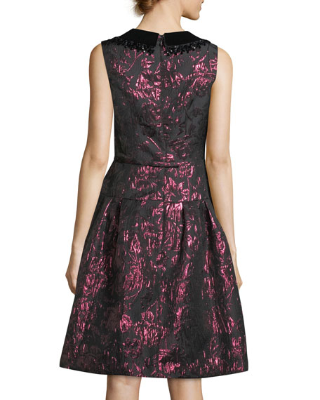 Sleeveless Velvet Collar Metallic Jacquard Cocktail Dress