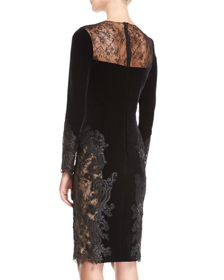 Long-Sleeve Lace Velvet Sheath Cocktail Dress
