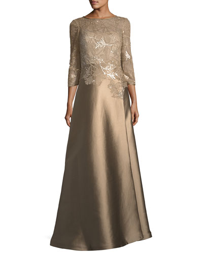 Gazaar Floral Lace Three-Quarter Sleeve Gown