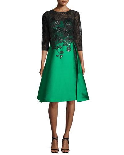 3/4 Sleeves Lace Bodice Gazaar Skirt Cocktail Dress