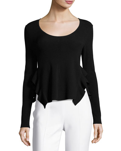 Scoop-Neck Long-Sleeve Flounce Top