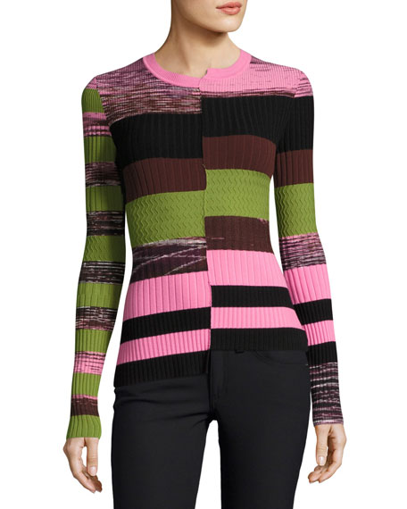 Opening Ceremony Space-Dye Long-Sleeve Bias-Cut Knit Top
