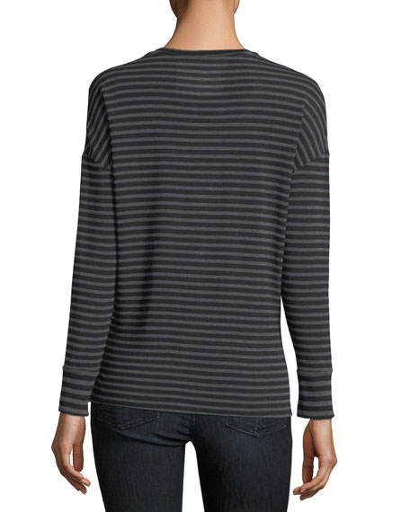 Soft Touch Long-Sleeve Striped Scoop-Neck Tee