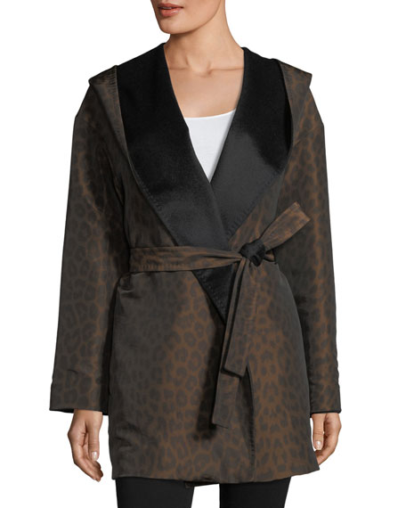 Hooded Reversible Animal-Print Wrap Coat