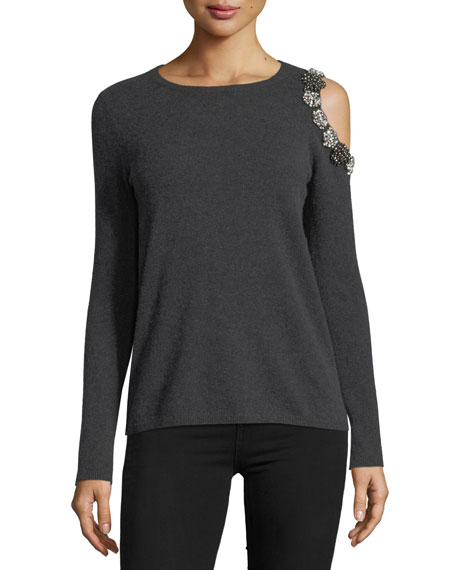 Neiman Marcus Cashmere Collection Embellished Exposed-Shoulder