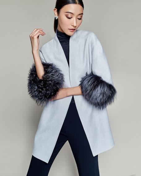 Luxury Cashmere Cocoon Jacket w/ Fox Fur Cuffs