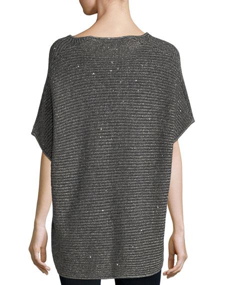 Dolman-Sleeve Sequin Shaker-Stitch Tunic