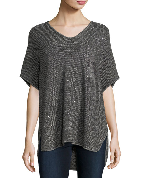 Dolman-Sleeve Sequin Shaker-Stitch Tunic