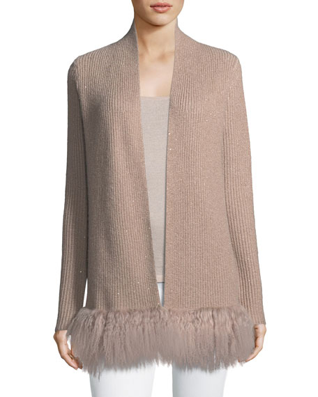 Luxury Shaker-Stitch Cashmere Cardigan w/ Tibetan Trim