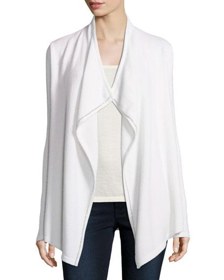 Luxury Chain-Trimmed Cashmere Cardigan w/ Tibetan Collar