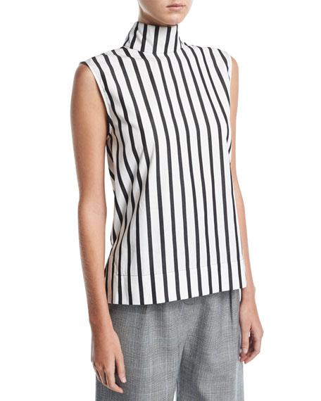 Solace London Odila Mock-Neck Sleeveless Striped Cotton Top