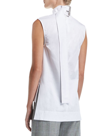 Odila Mock-Neck Sleeveless Cotton Top