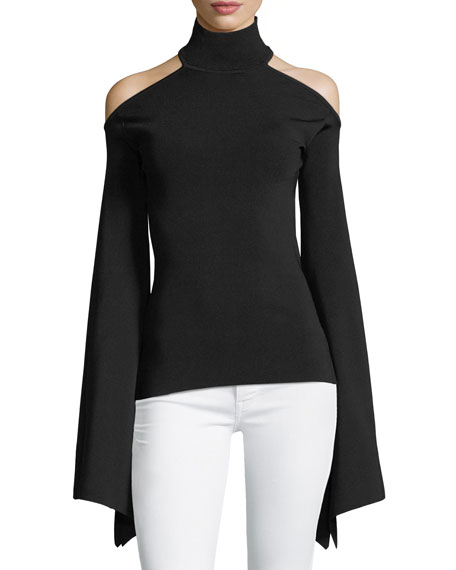 Lydie Turtleneck Off-the-Shoulder Bell-Sleeve Ponte Top