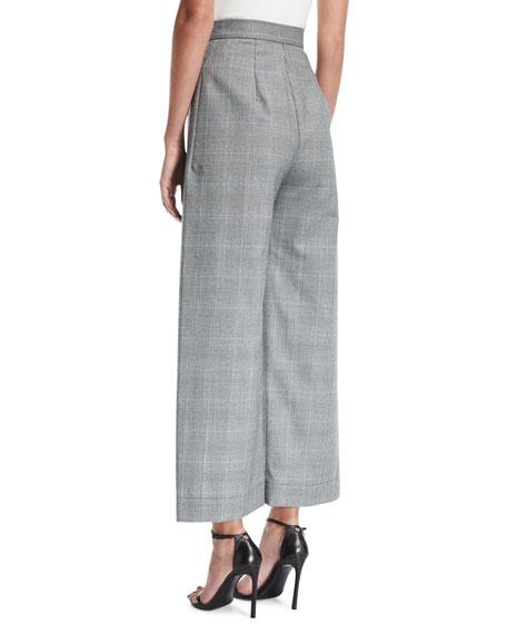 Delphine High-Waist Wide-Leg Wool-Blend Trousers