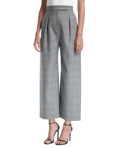 Solace London Delphine High-Waist Wide-Leg Wool-Blend Trousers