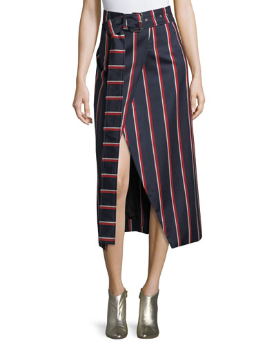 Apolline Striped Midi Wrap Skit