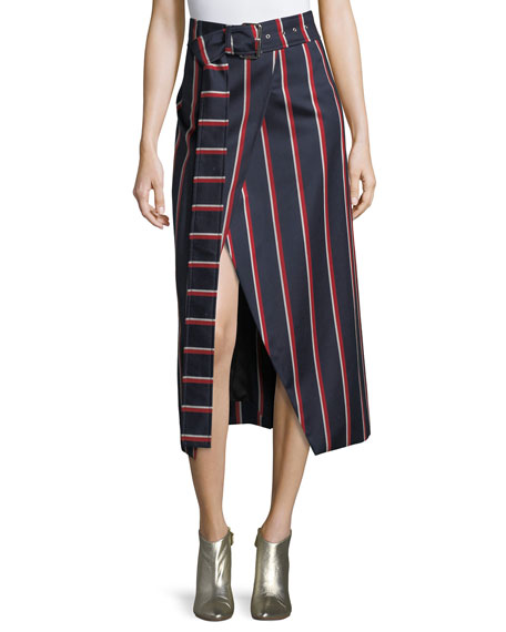 Apolline Striped Midi Wrap Skirt