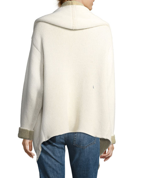 Double-Breasted Boucle Shawl-Collar Alpaca-Knit Jacket