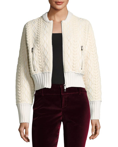 Woven Mock-Neck Cable Bomber Sweater