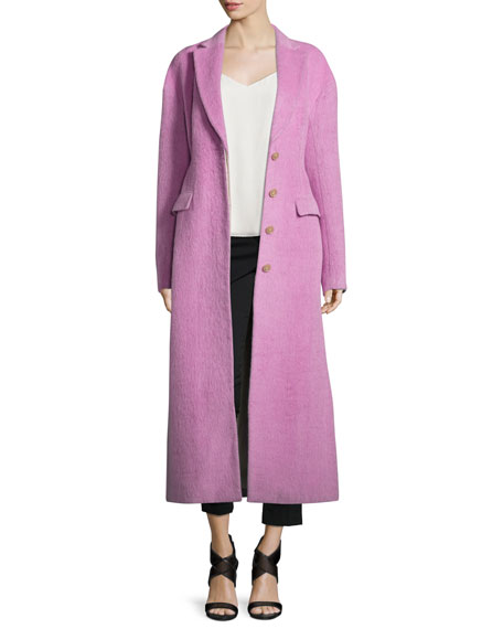 3.1 Phillip Lim Long Button-Front Tailored Wool/Mohair Coat