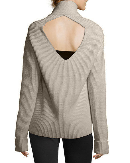 Long-Sleeve Draped Wool Rib-Knit Sweater