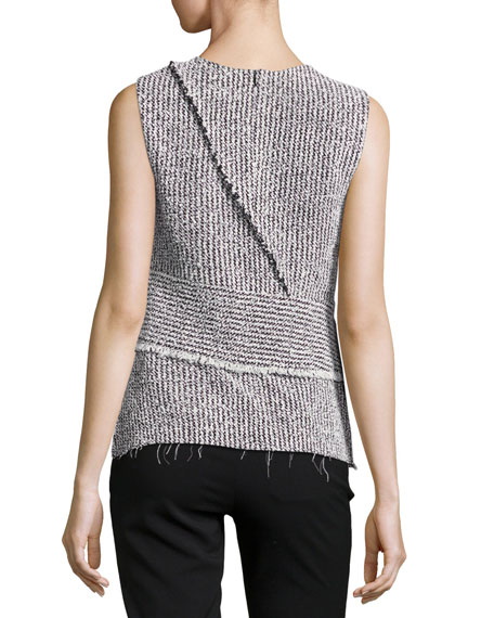 Sleeveless Tweed Wrap Top