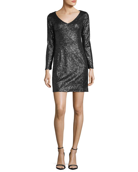 Alexis Long-Sleeve V-Neck Sequin Cocktail Dress