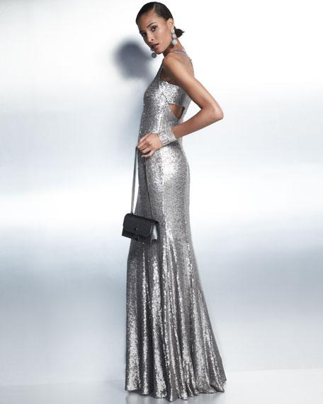 Jemma V-Neck Sleeveless Evening Gown